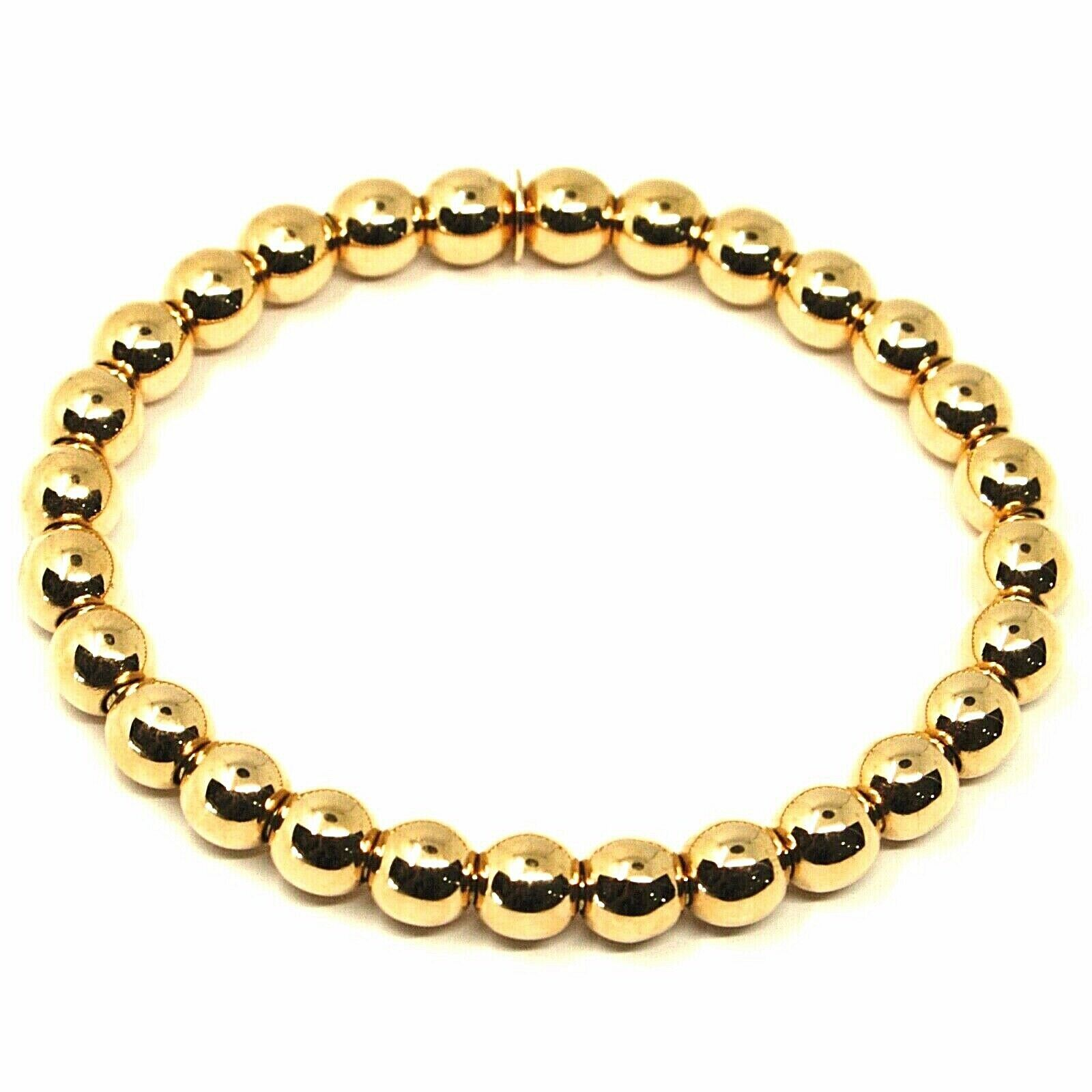 18K YELLOW GOLD BRACELET, SEMIRIGID, ELASTIC, BIG 6 MM SMOOTH BALLS SPHERES