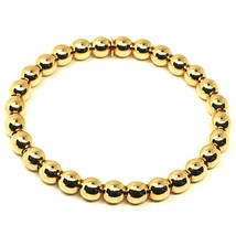 18K YELLOW GOLD BRACELET, SEMIRIGID, ELASTIC, BIG 6 MM SMOOTH BALLS SPHERES image 1