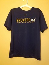 Nike Dry-Fit Milwaukee Brewers Boys Tee T-Shirt - Navy Blue - Large L 16/18 - $9.07