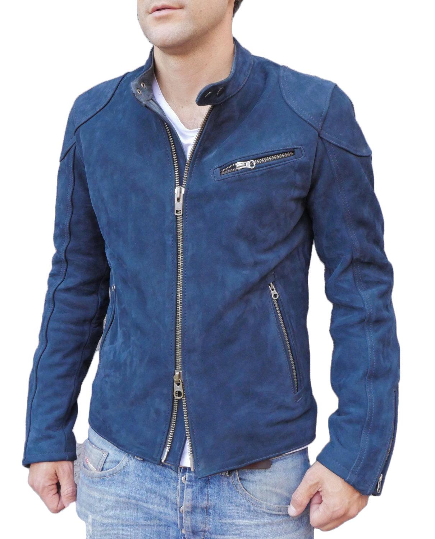 Blue leather jacket for men