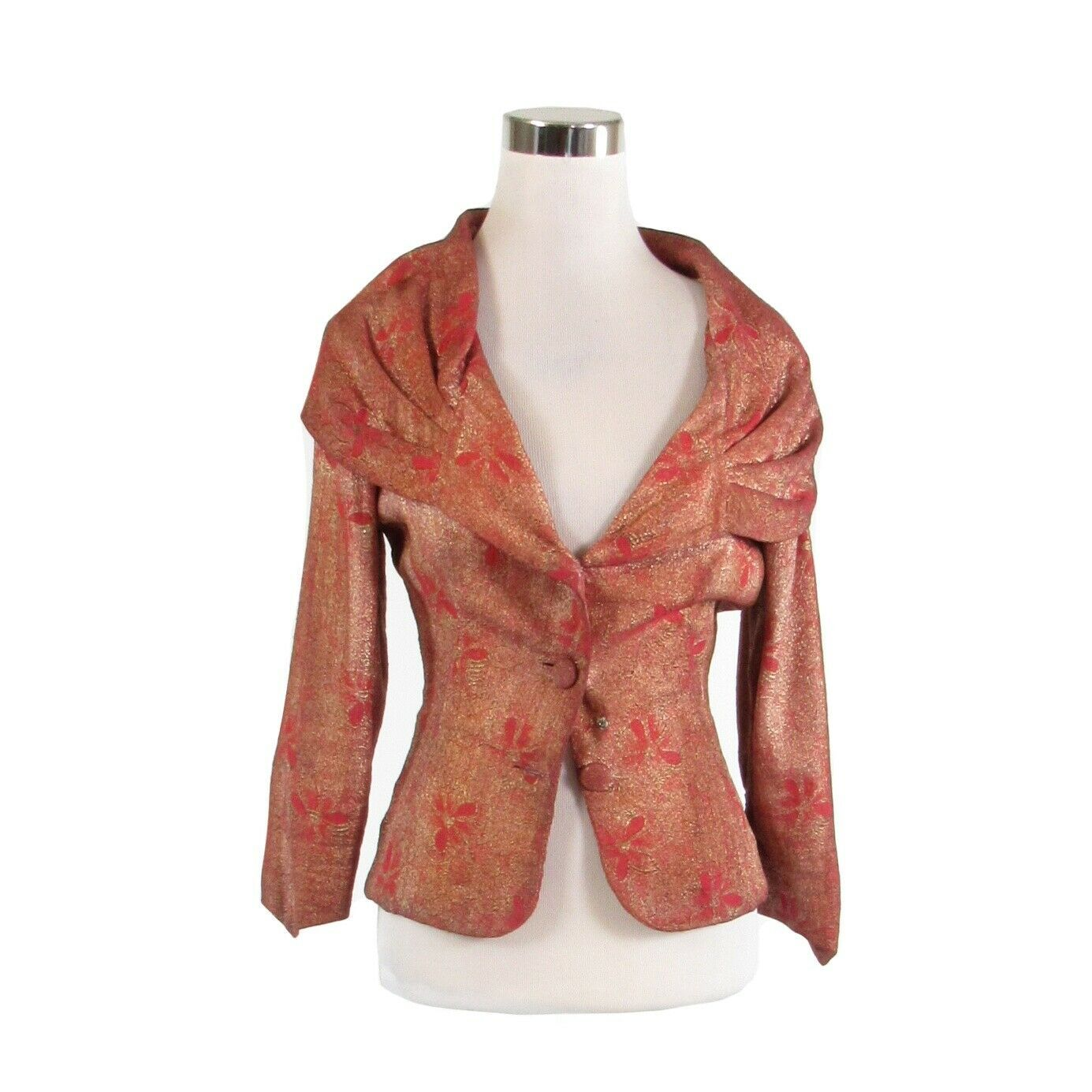 Primary image for Maroon red gold floral brocade vintage 3/4 sleeve jacket XS