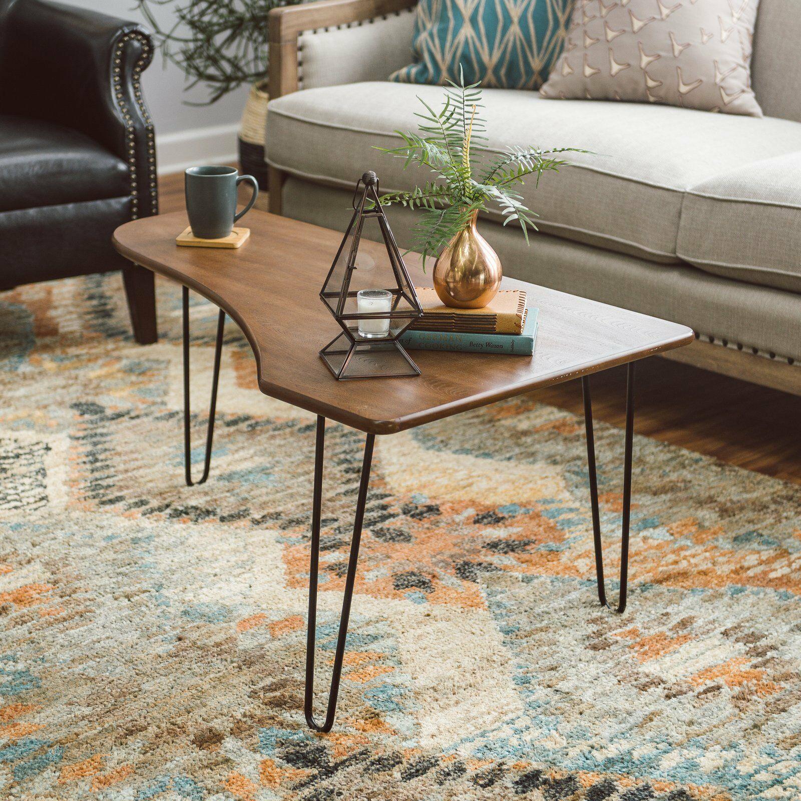 Walnut Finish Wood Metal Mid Century Modern Coffee Table