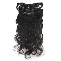 "Easyouth 8"" Natural Black Curly Clip in Extensions Body Weave 7Pcs/Set 100g Per  image 4"