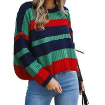Stripe Patchwork Knitted Pullovers 2018 Warm Women Winter O-neck Sweater... - $44.97+