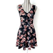 Forever 21 Dress Womens Medium Popover Dark Floral Double V Neck Casual ... - $9.70