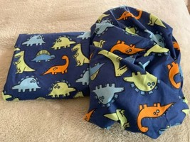 NEW Boys Blue Green Orange Dinosaurs Sheet Set Flat Fitted 100% Polyester - $16.93