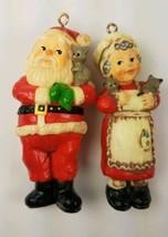 Hallmark Christmas Ornaments Santa & Mrs Claus Holding Kittens Cats  - $9.85