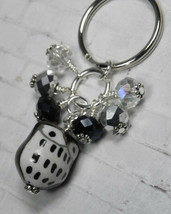 Black Owl Cluster Keychain Ceramic Crystal Beaded Handmade Split Key Rin... - $14.54