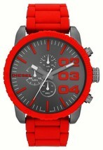 Diesel Double Down Chronograph Gunmetal Dial Red Silicone Men's Watch DZ... - $235.52 CAD