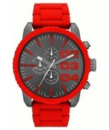 Diesel Double Down Chronograph Gunmetal Dial Red Silicone Men's Watch DZ... - ₹13,084.37 INR