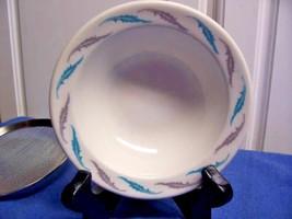Homer Laughlin Best China Blue Gray Leaves rimmed Soup bowl set of 5 - $22.81