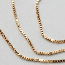18K ROSE GOLD CHAIN MINI 0.8 MM VENETIAN SQUARE LINK 15.75 INCHES MADE IN ITALY  image 2