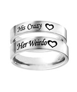 His Crazy Her Weirdo Titanium Steel Ring - Hers Couple Wedding Band Anni... - $7.99