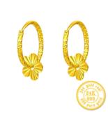 ZZZ 24k Pure Gold Hoop Earrings Flaky Plum Sweet Elegant And Fashion Women - $469.99