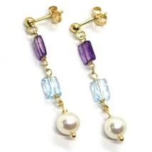 Drop Earrings Yellow Gold, 18K 750, Pearls round, Amethyst, Blue Topaz image 1