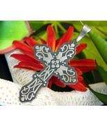 Cross Pendant Mexican Mexico Sterling Silver Overlay 925 Signed CII - $32.95