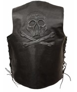 MEN'S MOTORCYCLE BLACK SKULLS & CROSS BONE EMBROIDERED LEATHER VEST W/SI... - $60.76+