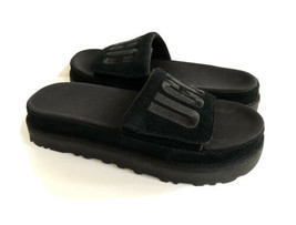UGG LATON SLIDE BLACK UGG EMBROIDERY LOGO SANDAL US 8 / EU 39 / UK 6 - $88.83
