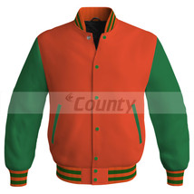 Super Letterman Baseball College Bomber Jacket Sports Orange Kelly Green... - $49.98+