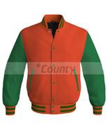 Super Letterman Baseball College Bomber Jacket Sports Orange Kelly Green... - $49.98+
