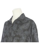 Nat Nast Luxury Black Blue Paisley Linen Short Sleeve Casual Shirt Mens ... - $24.67