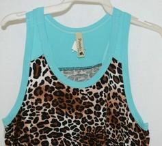 Pomelo Girls Tunic Aqua brown White black Leopard Print Size Large image 2