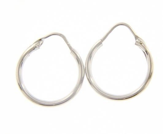 18K WHITE GOLD ROUND CIRCLE EARRINGS DIAMETER 13 MM WIDTH 1.7 MM, MADE IN ITALY
