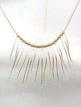 CHIC & UNIQUE Urban Artisanal Thin Gold Metal Eyelash Fringe Drape Necklace - $15.99