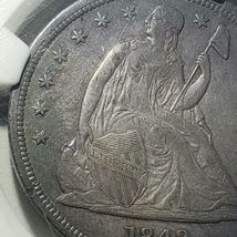 1842 Seated Liberty Silver Dollar Coin AU Details Lot A 106 image 3