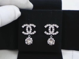 100% AUTH NEW CHANEL LARGE CC Crystal Dangle Drop Earrings image 3