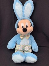 Disney Store Mickey Mouse Plush Bunny Blue Easter Outfit Plaid - $24.25