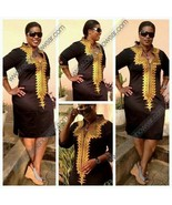 Odeneho Wear Black Polished Cotton/Gold Embroidery Dress. African Clothing - $84.15