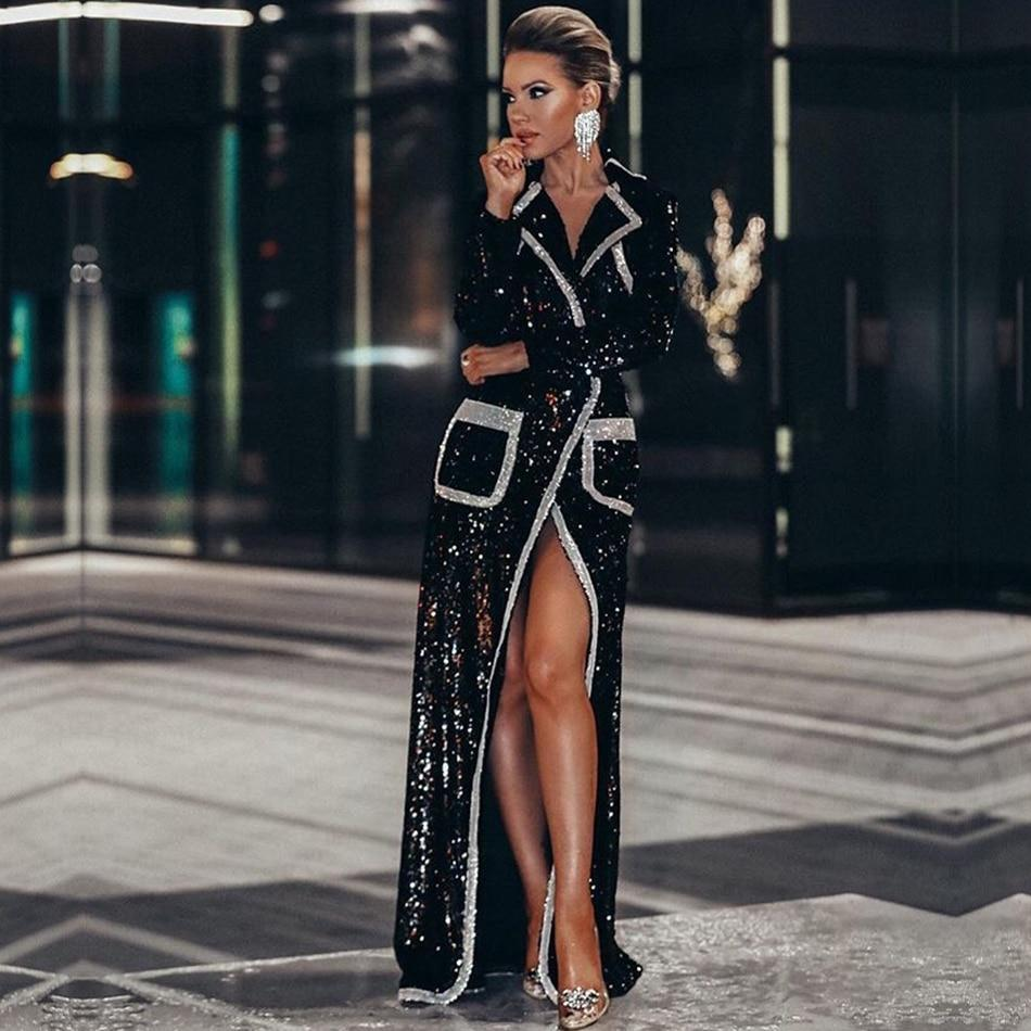 Adyce 2019 new winter women fashion trench coats black sequin deep v long sleeve double breasted