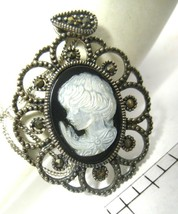 "Vintage Sterling Silver Cameo Mother of Pearl Marcasites On 18"" Sterling Chain - $49.00"