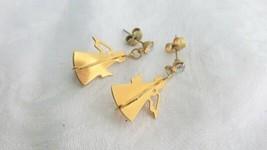 Vintage 3-D Angels AB Rhinestones Dangling Pierced Earrings Gold Plate D... - $8.09