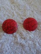 Vintage Red Black Enamel On Metal Round Earrings - $3.00