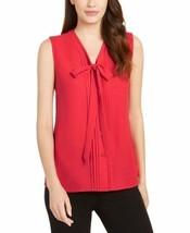 NWT Anne Klein Women's Sleeveless Tie-Neck Blouse Pinot Size  14 - $38.61