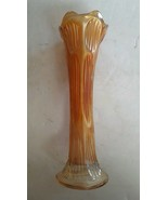 "Fenton Diamond & Rib Marigold Carnival Iridescent Art Glass Vase 10.75"" - $47.43"