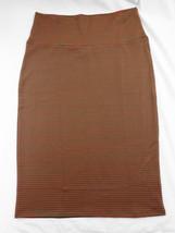 Womens LuLaRoe Cassie Skirt S Greenish Brown Pink Stripes NWT - $36.17