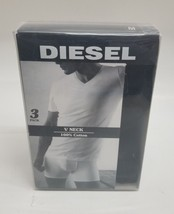 Diesel men's 2 pack of V-neck undershirts tshirts in black SIZE MEDIUM NEW - $25.23