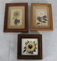 Vintage Sunflower & Rose Flower Wall Hanging Pictures - $17.81