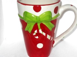 Candy Cane and Polka Dot Red White Green Coffee  Cocoa Mug     - $15.60
