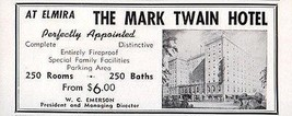 Mark Twain Hotel Elmira New York NY 250 Rooms w Bath 1956 Travel Tourism AD - $10.99