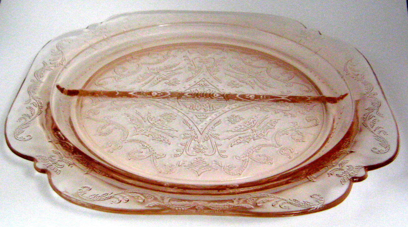 Pink Madrid Divided Relish Glass Plate Indiana Glass Co Recollections Depression - $18.00