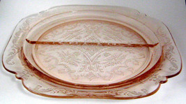 Pink Madrid Divided Relish Glass Plate Indiana Glass Co Recollections De... - $18.00