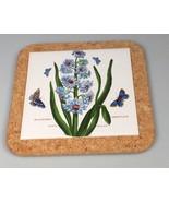 Portmeirion Trivet Hyacinth butterflies Botanic Garden Tile inset Cork - $55.89