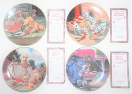 4 Collector Plates The Hamilton Collection All In A Day's Work Puppies D... - $28.00