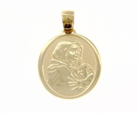 18K YELLOW GOLD PENDANT BIG OVAL MEDAL MARY JESUS 30 MM ENGRAVABLE MADE IN ITALY