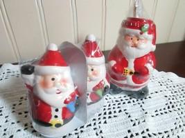 CHRISTMAS SANTA 3 PC SET SALT & PEPPER SHAKERS & TOOTH PICK HOLDER NEW - $9.00