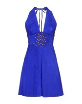 Halter Neck Studded  Evening Womens Day Cocktail Women Party Real Leather Dress